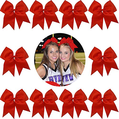 "7"" Jumbo Cheer Bow Big Hair Bows with Ponytail Holder Large Classic Accessories for Teens Women Girls Softball Cheerleader Sports Elastics Ties Handmade by Kenz Laurenz (10 pack 7"" Cheer Bow Red)"