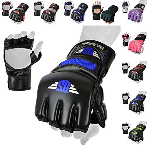 MMA Gloves, UFC Kickboxing Gloves, MMA Sparring Gloves, MMA Training Equipment, Fighting Gloves for Mixed Martial-Arts, MMA Training Gloves Adults Men & Women by BeSmart (Blue Mesh, Small)