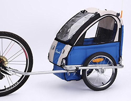Sepnine Steel Frame Baby Bicycle Trailer of Single seat for one Child BT-505 (Blue/Grey)