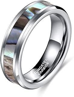 Shuremaster 6mm 8mm Tungsten Rings Abalone Shell/Wood Arrow Inlay Men Women Wedding Band Size 4-15