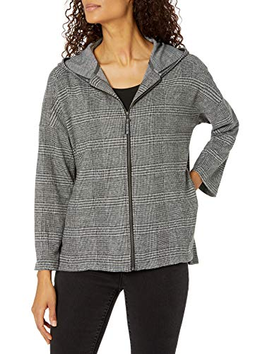 Max Studio Women's Plaid Hooded Double Knit Zip Jacket, Grey, Large