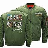 LYZL Chaqueta para Hombre Sudadera - Estampado de Elvis Presley Traje de Vuelo Informal Espesar A Prueba de Viento Uniforme de béisbol Prendas de Abrigo - Regalo de San Valentín