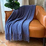 LOMAO Knitted Throw Blanket with Tassels Bubble Textured Lightweight Throws for Couch Cover Home Decor (Navy, 50x60)