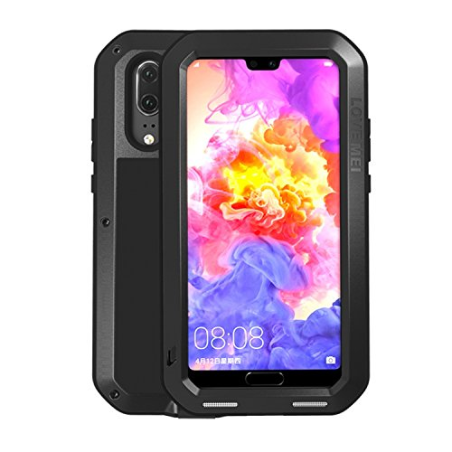 Simicoo Huawei P20 Pro Aluminum Alloy Metal Bumper Silicone Full Body Hybrid Case Built-in Gorilla Glass Military Shockproof Heavy Duty Armor Defender Tough Case for Huawei P20 Pro (Black, P20 Pro)