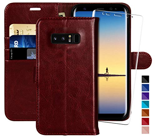 Galaxy Note 8 Wallet Case, 6.3 inch,MONASAY [Included Screen Protector] Flip Folio Leather Cell Phone Cover with Credit Card Holder for Samsung Galaxy Note 8 (Burgundy1)