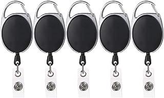 Bobine Badge 5 Pièces Rétractable Porte-badges Porte-clés pour Carte D'identité Clips Bobine Mousqueton Porte-badges Trava...
