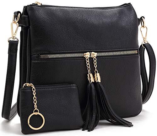 BlesMaller Damen Retro PU Leder Schulter Messenger Quaste Reißverschluss Tasche Handtasche Umhängetasche mit Geldbörse (Schwarz)