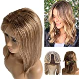Human Hair Wigs Ombre Lace Front Bob Wigs Pre Plucked Middle Part Balayage Lace Wig With Medium Brown Roots Strawberry Blonde Highlights Soft Straight Blunt Cut Wig 3 Tones 14 Inch 150% Density