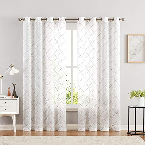 """Metro Parlor White Sheer Curtains 84 Inches Long Set 2 Panels for Living Room Bedroom, Grey White Geometric Line Embroidered on Voile Drapes, Grommet Top Linen Textured 54"""" Width Window Treatments"""