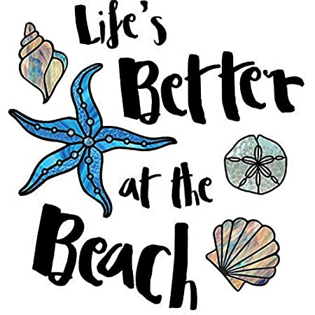 Life S Better At The Beach Wall Quote Vinyl Decal Yadda Yadda Design Co Variations Available 16 W X 16 75 H Blue Kitchen Dining