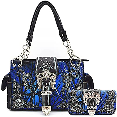 Camouflage Crown Buckle Western Purse and Wallet Set