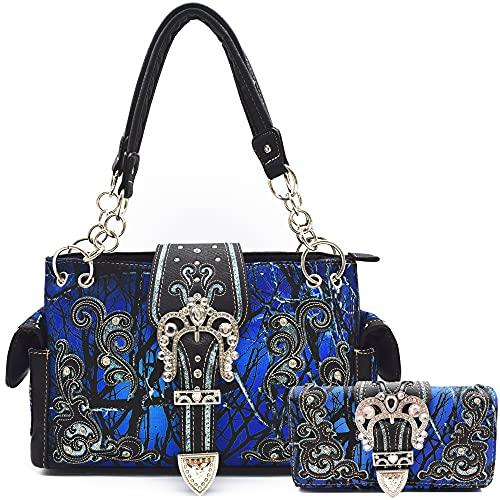 Camouflage-Kronen-Schnalle, Western-Stil, versteckte Tragetasche, Landhaus-Handtasche, Damen-Schultertasche, börsen-Set, Blau (blau), Large
