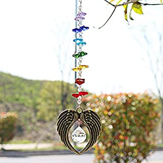 H&D Crystal Angel Wing Pendant with 20mm Glass Ball Prism Rainbow Maker Collection