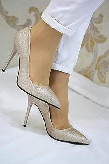 Stiletto - A538 İnce Topuklu Altın Simli Ayakkabı