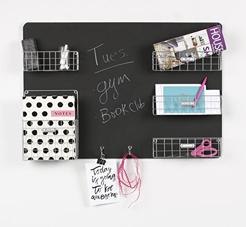 DesignOvation 209302 Dinah Decorative Wall Chalkboard with Five Metal Baskets and Two Key Hooks, 31.5x22, Silver