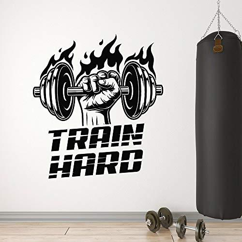Gym muursticker training stoere vent fitnessclub ijzeren sport cultuur vinyl mangat binnendeur raam muursticker