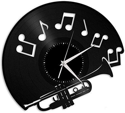 GodyGT Rekord Wanduhr Trompete Vinyl Wanduhr Musikinstrument einzigartiges Geschenk Familienzimmer Dekoration 12 Zoll