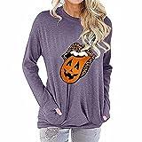 ZFQQ Otoño/Invierno Mujer Halloween Estampado de Leopardo Labios Calabaza Estampado de Lengua Camiseta de Manga Larga Top