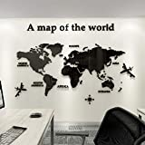 FANFAN Acrylic 3D Wall Stickers World Map Wall Decal for Office Decoration (Black, Large)
