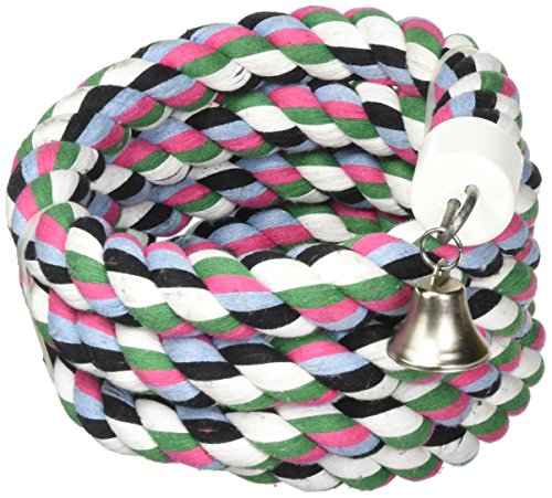 A&E Cage Company 001348 Happy Beaks Cotton Rope Boing with Bell Bird Toy Multi-Colored, 1.25X97 in, X-Large (HB556)