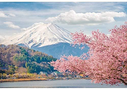 HD 2 2x1 5m Natural Landscape Photography Backdrop Mount Fuji Cloud Cherry Blossoms Lake Photo Background Backdrops Photography Video Party Kids Personal Portrait Photo Studio Props