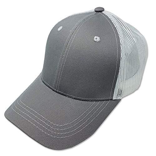 DANKONG Blank Trucker Hat - Classic 6 Panels Curved Bill Visor Baseball Mesh Cap Hot Weather, Summer, Outdoor, Running, Car Driving, Vacation, Fishing, Sport, Daily - Heather Grey/White