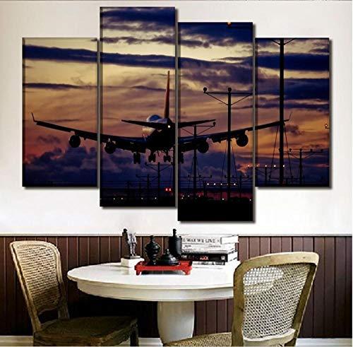 Titoboo Lienzo decorativo para pared, diseño moderno, 4 pizarras, paisaje, cielo y avión, diseño de avión