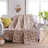 Qucover Tagesdecke 200x220cm, Gesteppte Decke aus Baumwolle, Quilted Blanket, Bettüberwurf für Doppelbett, 200 x 230 cm Rosa mit Süßem Blumen Muster