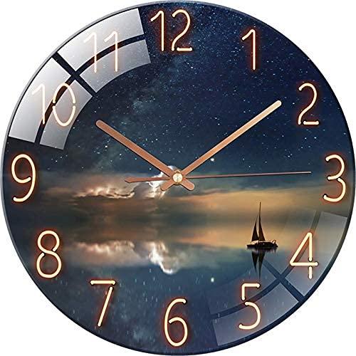 SWECOMZE Reloj de cristal – 30 cm – Reloj de pared silencioso...