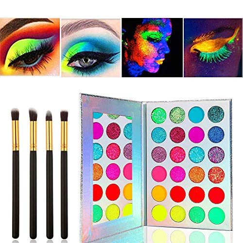 Kalolary Neon Eyeshadow Palette with 4 Brushes, 24 Colors Glow in the Dark Paint UV Glow Blacklight Matte Glitter Fluorescent High Pigmented Makeup Palette for Festivals/Party/Halloween/Christmas Face Body Makeup