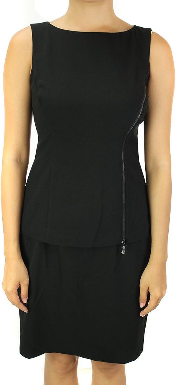 Lauren Ralph Lauren Black Sleeveless Peplum Zip Dress 8