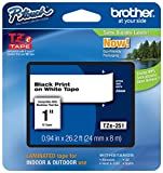 Genuine Brother 1' (24mm) Black on White TZe P-Touch Tape for Brother PT-2700, PT2700 Label Maker with Free TZe Tape Guide Included