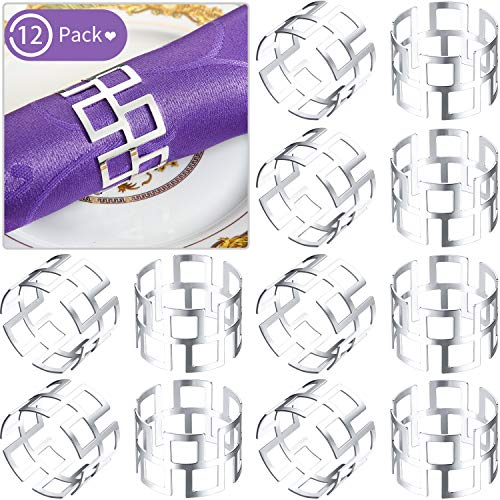 Napkin Rings Set of 12, Dining Table Setting Bridal Napkins Rings Glossy Napkin Holder Adornment for Vintage Christmas, Holidays, Dinner Decor Favor (Silver)