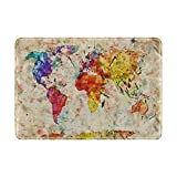 Watercolor Rainbow World Map Travel Passport Covers Holder Case Waterproof Protector
