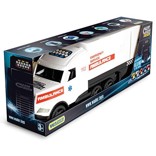WADER Magic Truck Ambulance 36210 - Coche de Juguete con Puerta Lateral, a Partir de 3 años, 79 cm