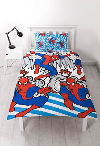 Disney ULTIMATE SPIDERMAN Ultimate Spiderman 'Popart' Single Duvet Set-Repeat Print Design, Microfibre, Multi-Colour