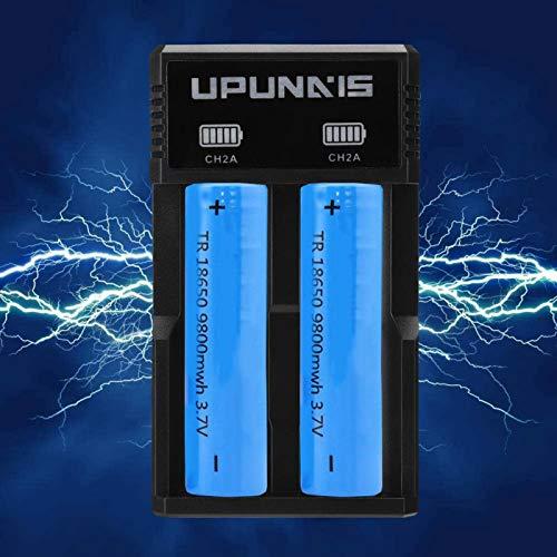 Mxzzand Cargador de batería Universal Portátil de protección múltiple Puerto USB Reemplazo Ahorro de energía Compatible con batería 26650 18650 18500 18350