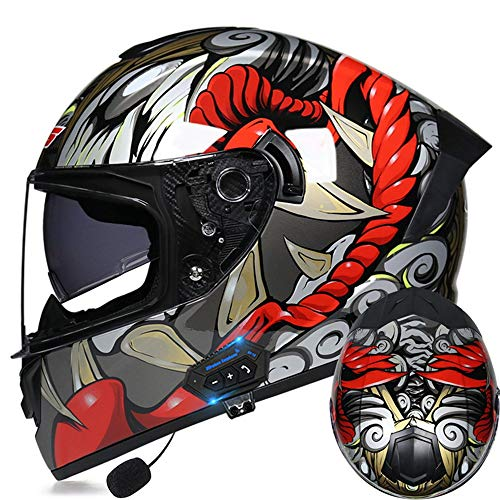 Bluetooth Modular Flip Up Front Motorcycle Casmet,Integrato Casco Moto Integrale Modulare Apribile a Doppia Visiera Interfono Mp3 Radio FM Approvato DOT ECE,A S =(55~56CM)