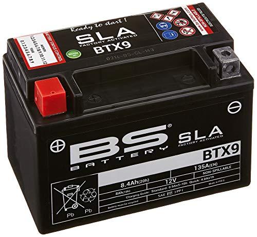 BS Battery 300674 BTX9 AGM SLA Motorrad Batterie, Schwarz