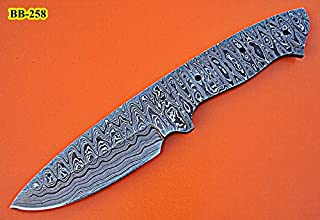 BB-258, Handmade Damascus Steel 9 Inches Full Tang Skiner Knife - Solid Blank Blade