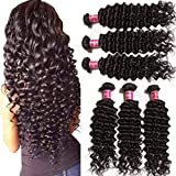 Unice Hair Brazilian Deep Wave 3 Bundles, Unprocessed Virgin Human Hair Weaves Natural Color Can Be Dyed and Bleached (18 20 22)