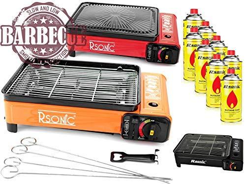 XXL Cocina Camping Cocina Gas Portable Cocina de Gas RS-4030 Parrilla de Gas Mechero de Gas - Negro - hervidor con 8 Cartuchos