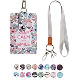Lanyard ID Badge Holder Case PU Leather Credit Card Wallet with 1 ID Window & 2 Card Slots & 2 Key Chains and Detachable Neck Strap for ID Driver Licence & Women Teen Kids Girls (Keep Calm Smile)