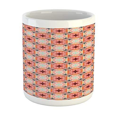 Tazza da caffè da 325 ml, tazza da tè, tazza messicana, colorata ispirazione floreale artistica folklorica Talavera Squares Repetion, in ceramica stampata per caffè, acqua, tè e bevande, multicolore