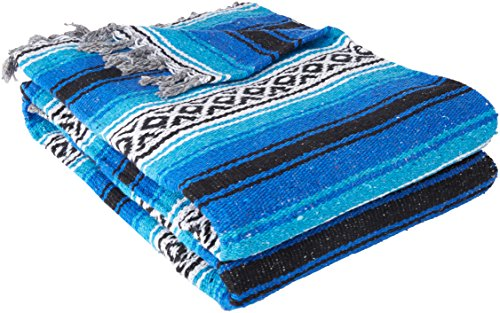YogaDirect Deluxe Mexican Yoga Blanket, Blue, 76-Inch x 57-Inch