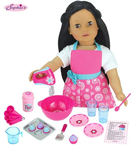 Sophia's 18 PC. Set of 18 Inch Doll Clothes Apron Plus Baking Accessory Set for Girl Dolls, Mini Doll Food & Apron Cookware Set Perfect for Your American Doll & More! Doll Sold Separately