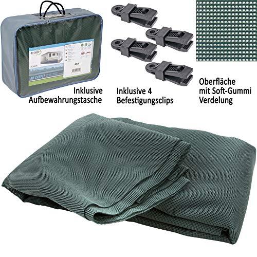 Bocamp Vorzeltteppich Soft 300x400 - ZUSCHNEIDBAR - ohne Ausfransen - formfest - weich - grün - leicht - waschbar - mit Aufbewahrungstasche und Befestigungs Clips - Camping Wohnwagenteppich Zelt