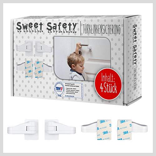 Sweet Safety® Baby Türklinkensicherung – Bombenfest – TÜV Schadstoff geprüft – Türdrückerschloss Kindersicherung für Türklinken und Türgriff – 4 Stück