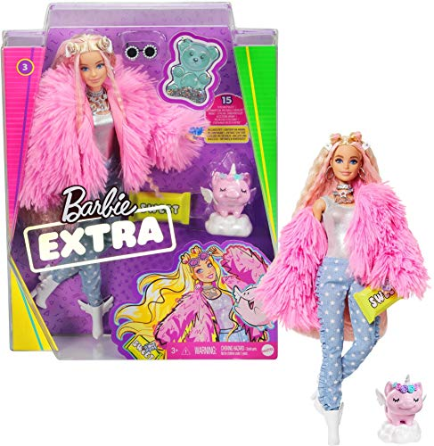 Barbie GRN28 - Barbie Extra Puppe (blond) mit flauschiger rosa Jacke