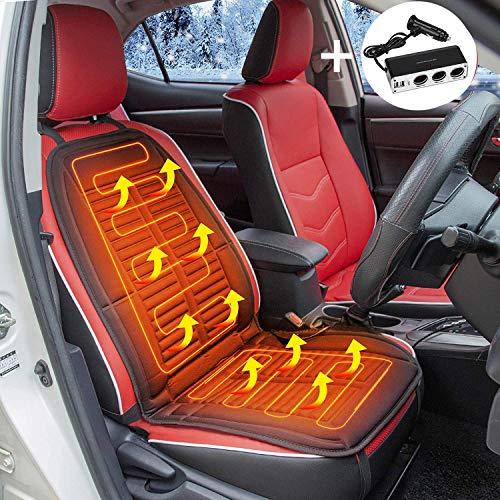 Auto Sitzheizung, 12V beheitzte Autositzauflage Mit Auto Ladegerät, Auto Heizkissen mit Temperatur Kontrolleu, beheitzbares Sitzkissen für Auto